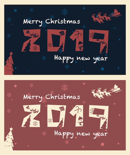 Christmas and new years numbers Premium Vector