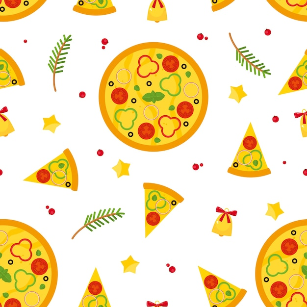 Christmas and new years seamless pattern with pizza, slices of pizza and ingredients. Free Vector