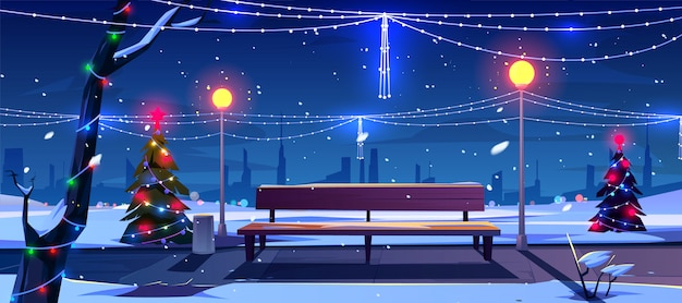 Christmas in night park Free Vector