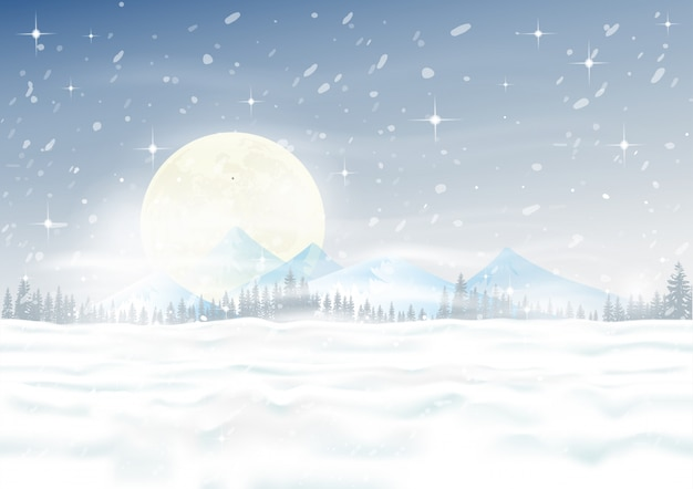 Christmas night scene with snowdrifts, blizzard, firs and pine tree forest Premium Vector