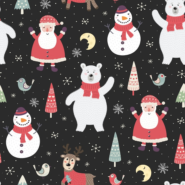 Christmas night seamless pattern with cute characters Premium Vector