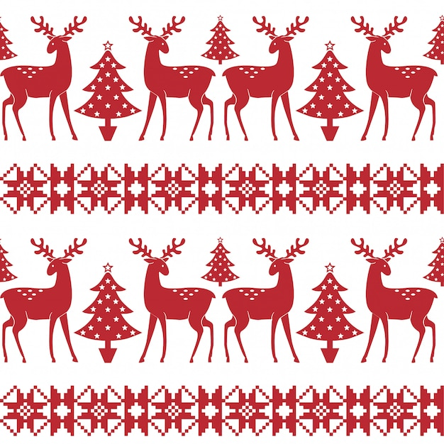 Christmas nordic seamless pattern with trees and deer. Premium Vector