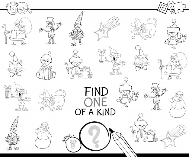 christmas one of a kind game coloring book premium vector