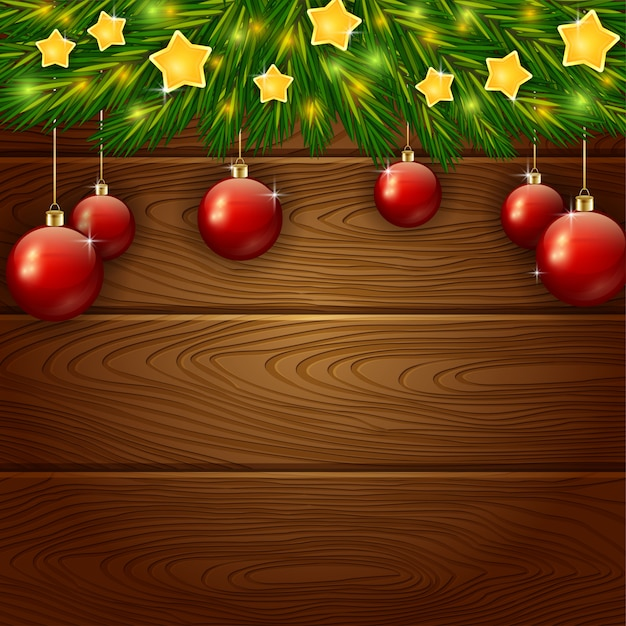 Christmas ornament with stars on wooden background Premium Vector