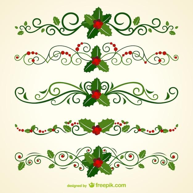 Christmas ornamental headers Free Vector