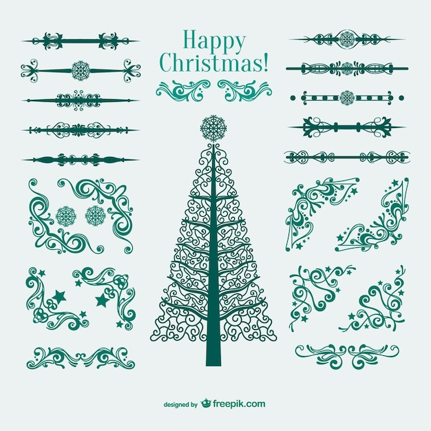 Christmas Ornaments Borders And Corners Free Vector