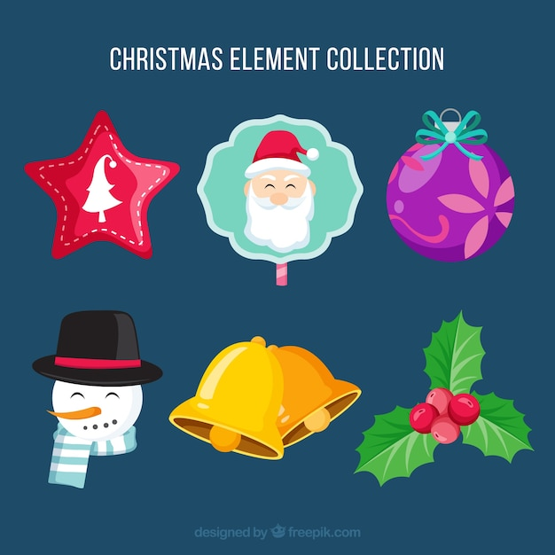 Christmas ornaments with lovely style Free Vector