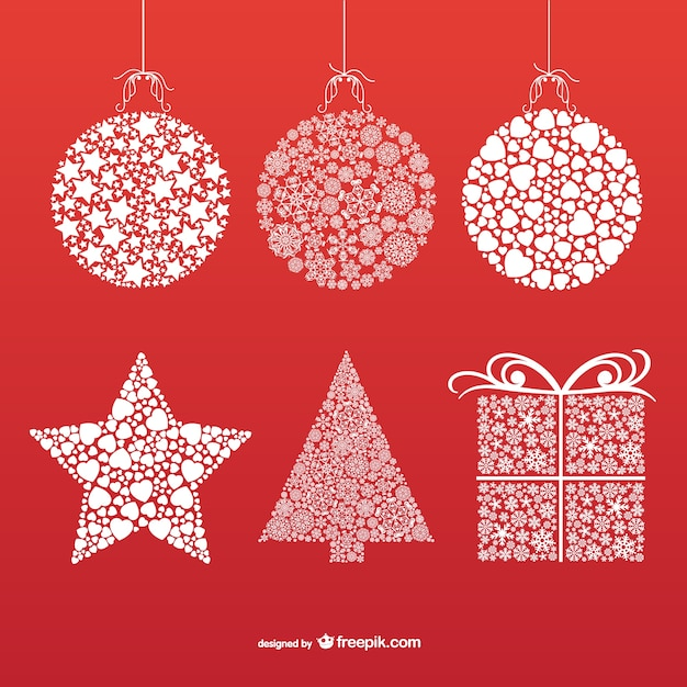 Christmas ornaments with snowflakes and stars vector