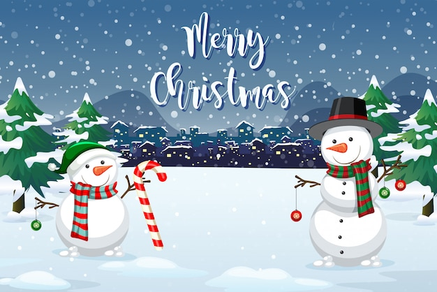 A christmas outdoor background Free Vector