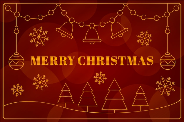 Christmas in outline style background Free Vector