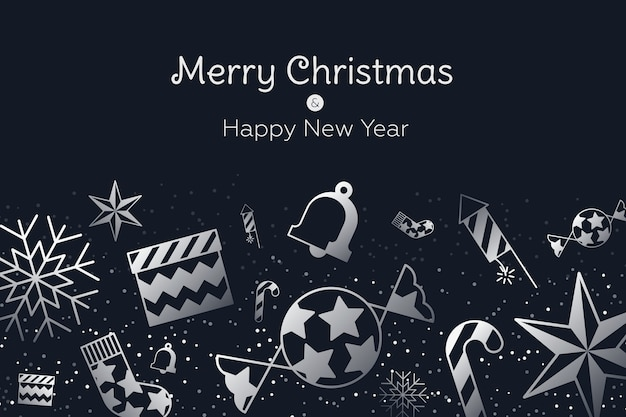 Christmas in outline style wallpaper Free Vector