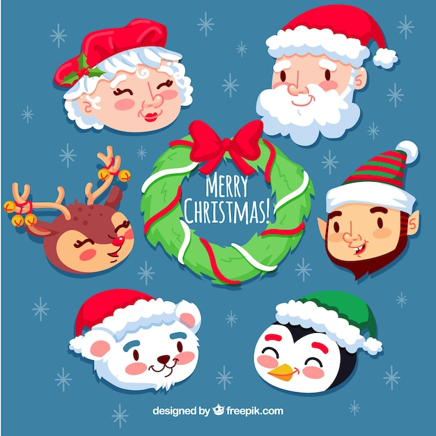 christmas pack of smiley faces free vector - Christmas Smiley Faces