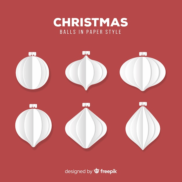 Christmas paper white ball collection Free Vector