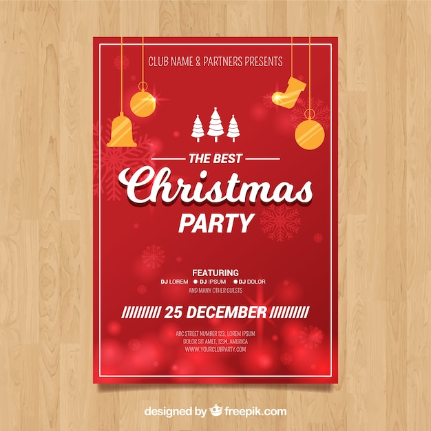 Christmas party 25th of december Free Vector
