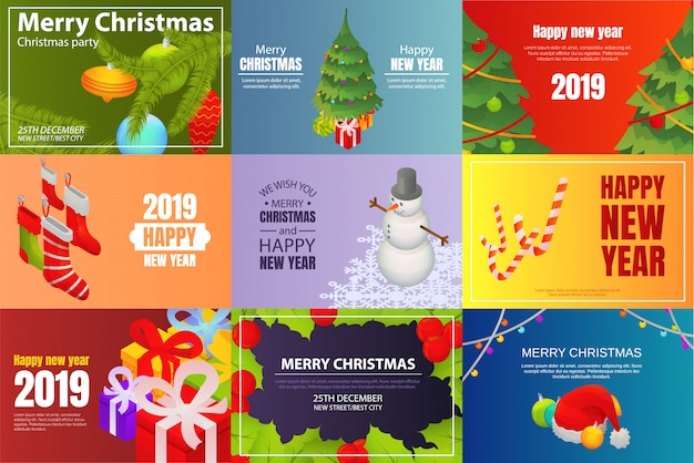 Christmas party banner set. isometric set of christmas party vector banner for web design Premium Vector