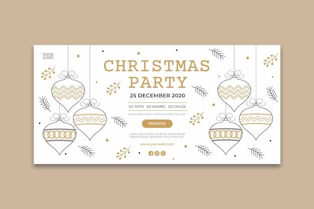 Рождественская вечеринка баннер шаблон Бесплатные векторы