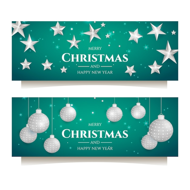 Christmas party banner with silver decoration Free Vector