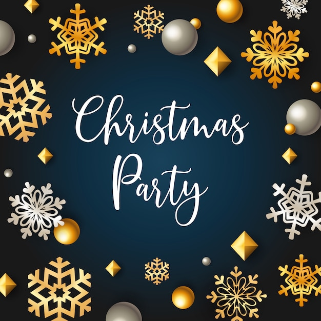 Christmas party banner with stars and flakes on blue background Free Vector