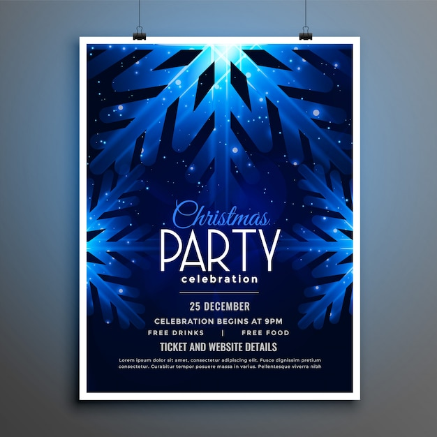 Christmas party blue snowflakes flyer template design Free Vector