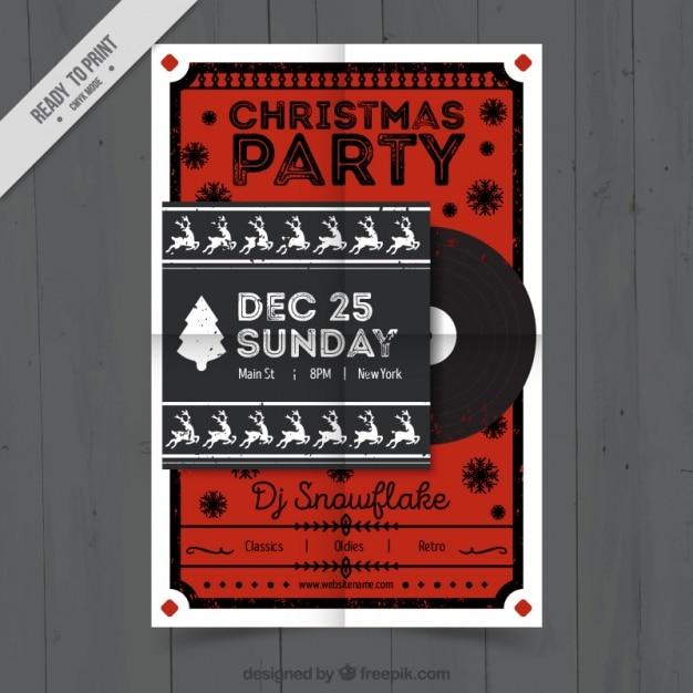 Christmas party brochure in retro design with vinyl
