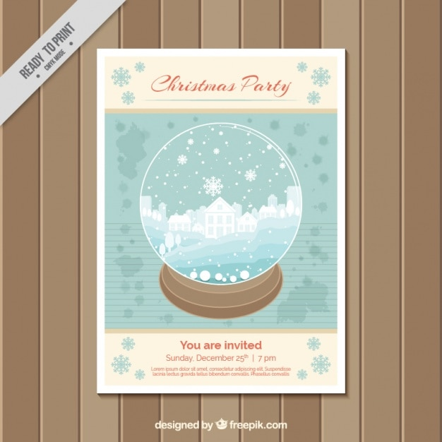 Christmas party brochure template with a snowball