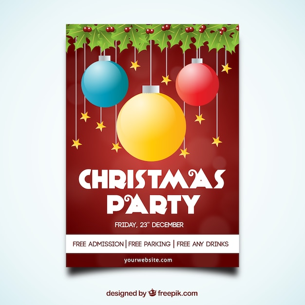 Christmas party brochure with colored balls