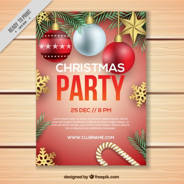 Christmas party brochure with decorative christmas balls