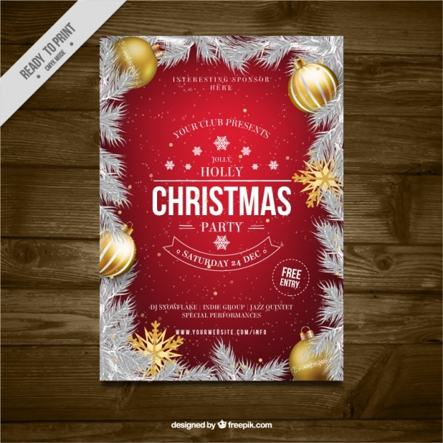 Christmas party brochure with fir leaves and\ golden balls