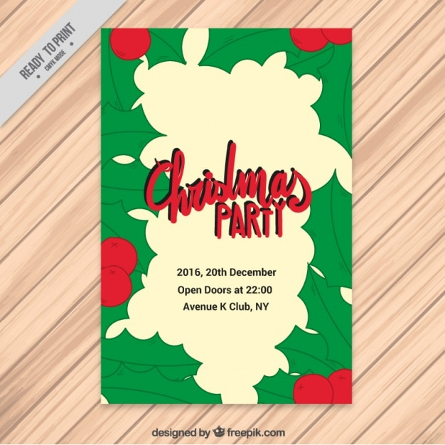 Christmas party brochure with hand drawn mistletoe