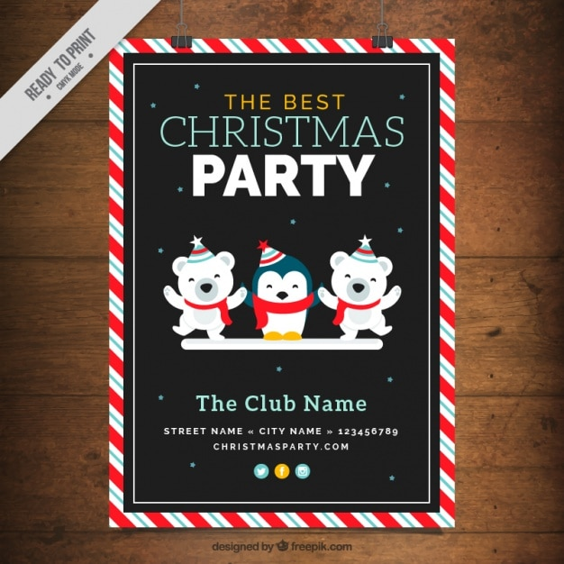 Christmas party brochure with nice animals