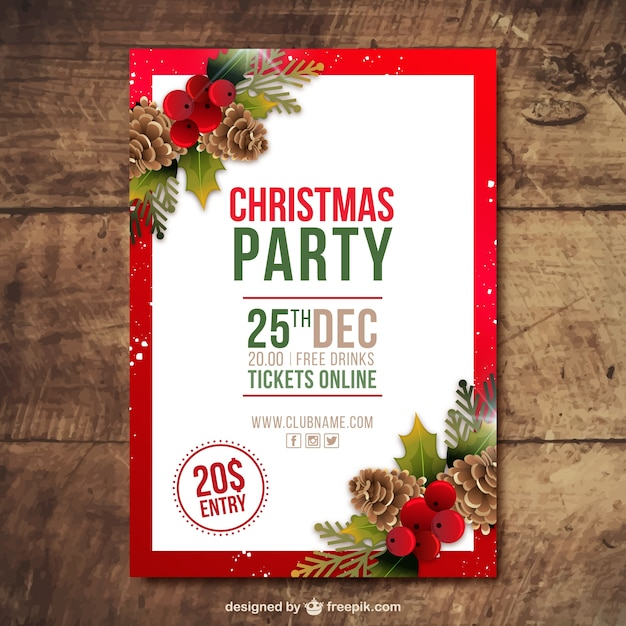 Christmas party brochure with pine cones and mistletoe in realistic style Free Vector