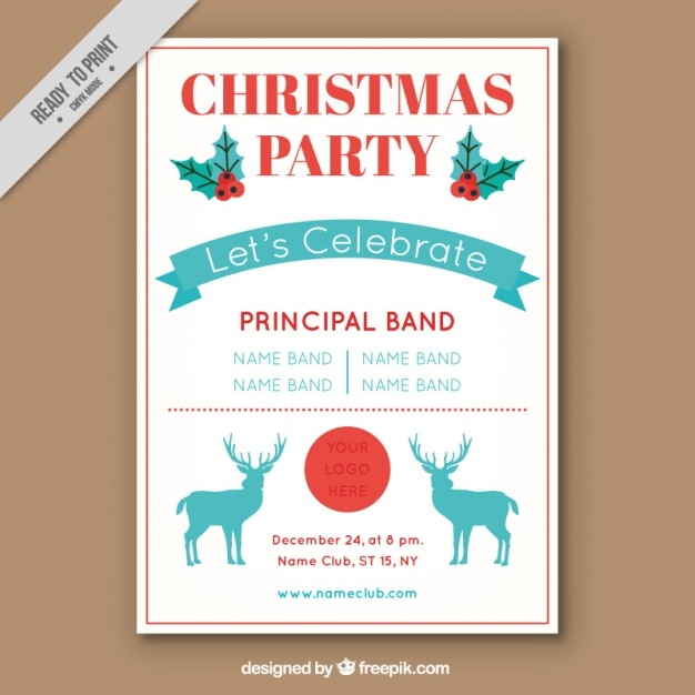Christmas party brochure with reindeer