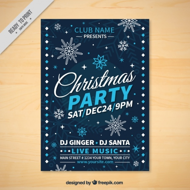 Christmas party brochure with snowflakes Free Vector