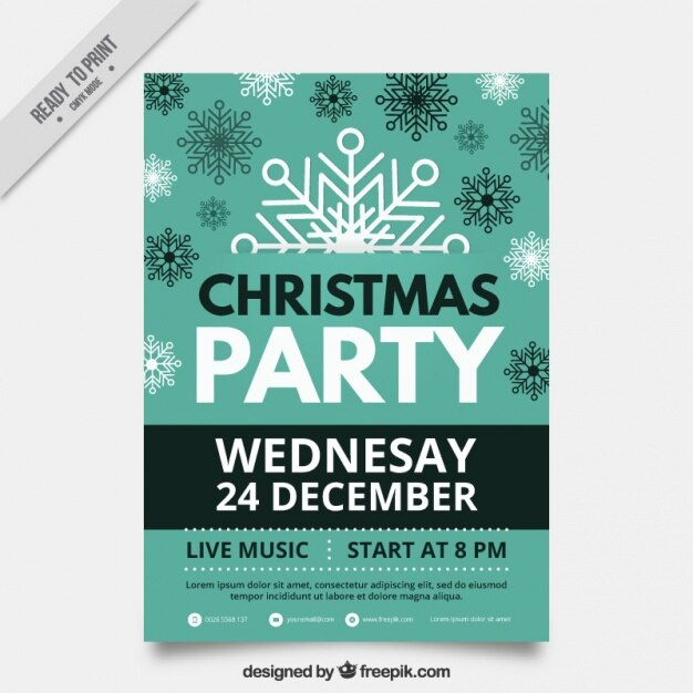 Christmas party brochure with snowflakes