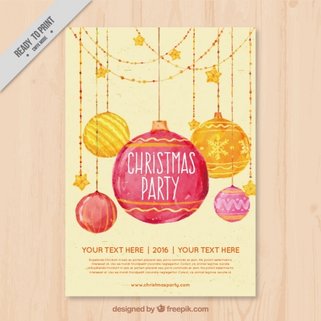Christmas party brochure with watercolor balls