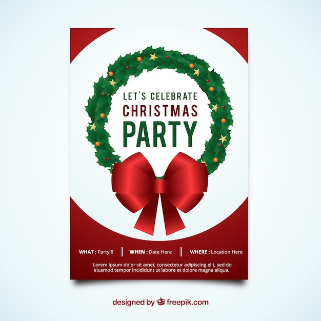 Christmas party brochure with wreath and bow