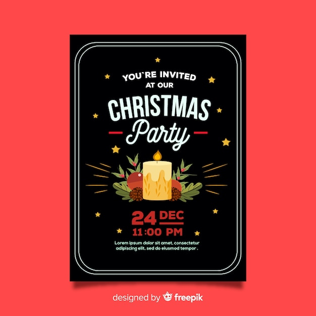 christmas party candle poster template vector free download