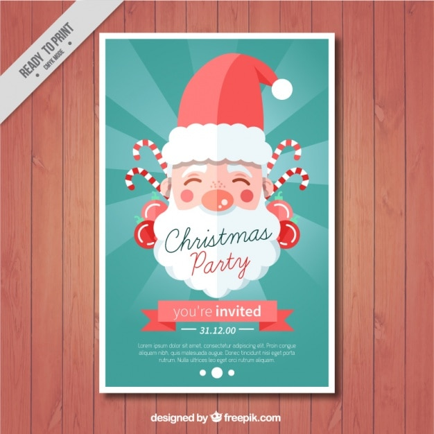 Christmas party card with lovely santa claus