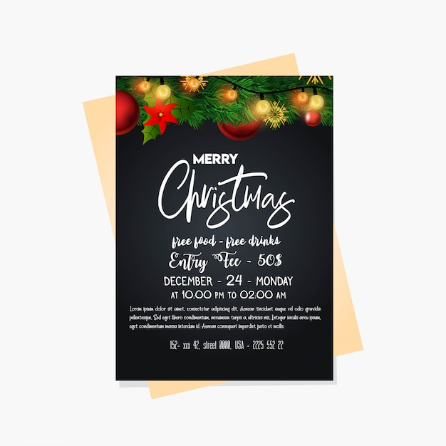 Christmas party cards and poster Free Vector