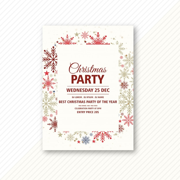Christmas Party Celebration Invitation Card Template Vector