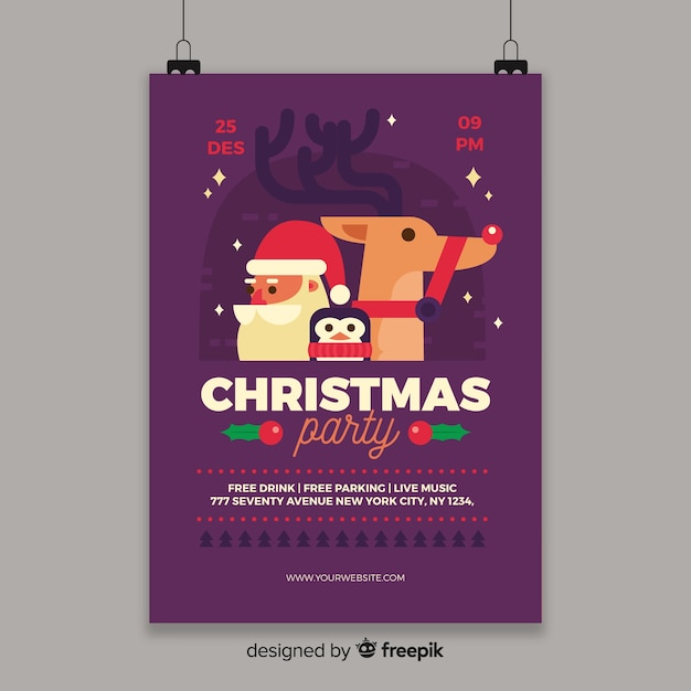 Christmas party characters poster template Free Vector