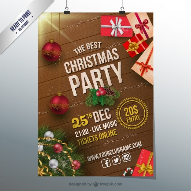Amazing Christmas Party Poster Ideas Part - 8: Christmas Party CMYK Flyer Free Vector