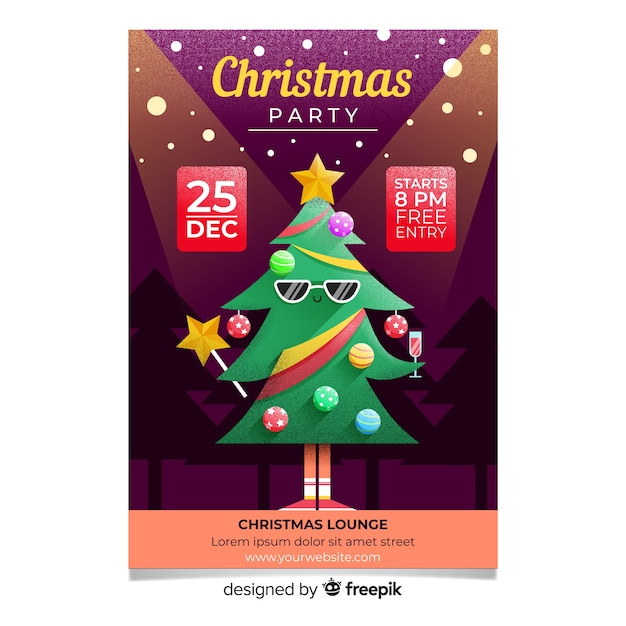 christmas party cool tree flyer template vector free download