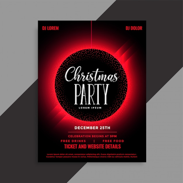 christmas party event invitation flyer template vector free download