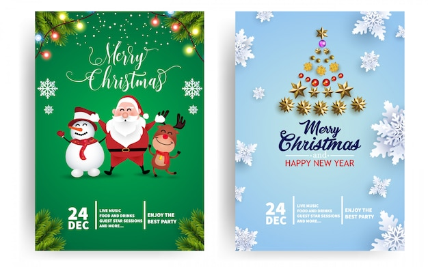 Christmas party event poster or flyer template with santa, deer, and snowman Premium Vector