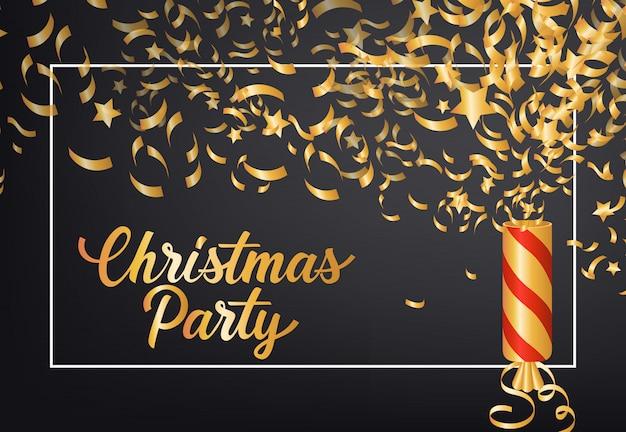 Christmas party festive poster design. cracker, confetti Free Vector