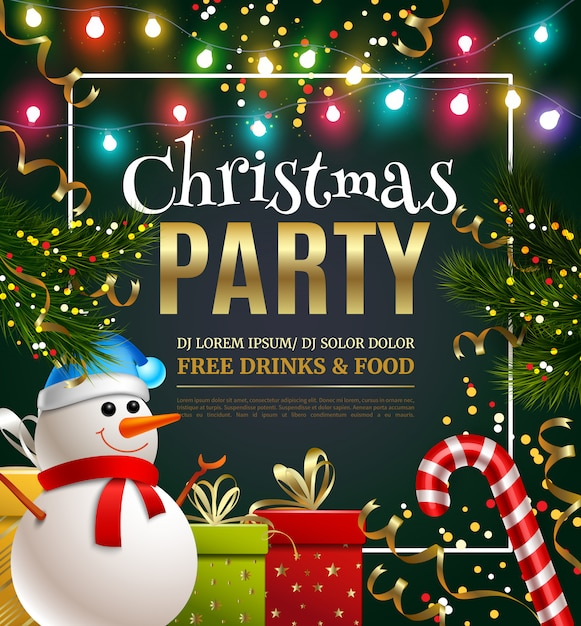 Christmas party festive template Free Vector