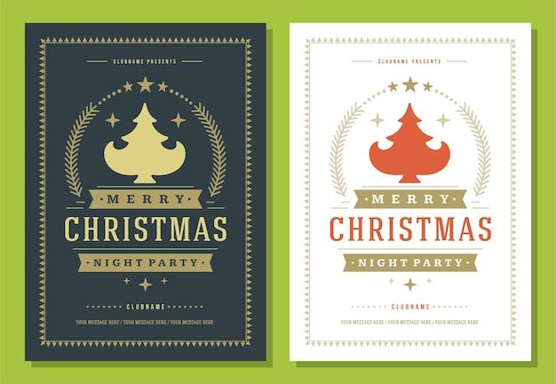 クリスマスパーティーのチラシの招待状のレトロなタイポグラフィと装飾要素 Premiumベクター