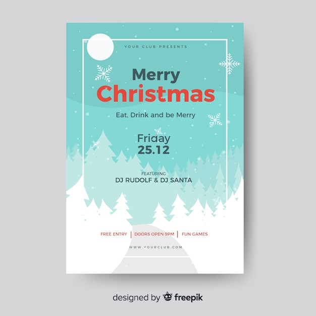 christmas party flyer landscape template vector free download