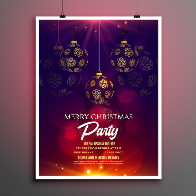 Christmas party flyer or poster template Free Vector
